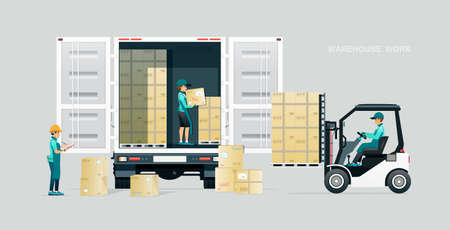 Warehouse workers inspect and deliver goods by truck.