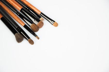 grooming product: set of make up brushes on white background Stock Photo