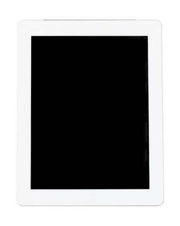 handheld device: Top view of white tablet computer in portrait orientation isolated on white background. You can put your own interface or inscription on the screen.