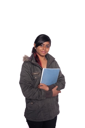 Portrait of a casual Indian Asian college student over isolated white background. photo
