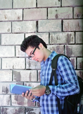 college boy: Portrait of an Asian  Indian college student on the brick wall.
