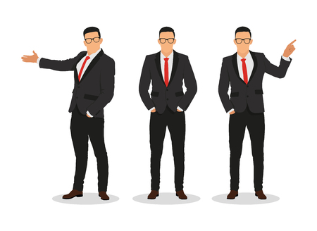 Handsome young businessman in various poses -stock vector .