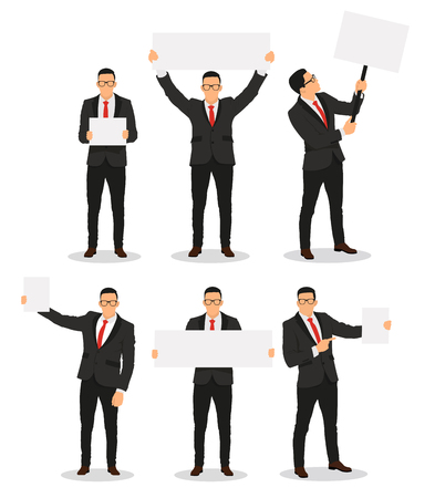 Human with empty boards in hand. In various poses - stock vector. 일러스트