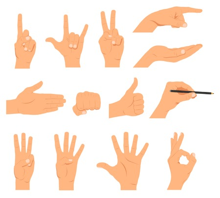 forefinger: Set of hands, different gestures emotions and signs - stock vector