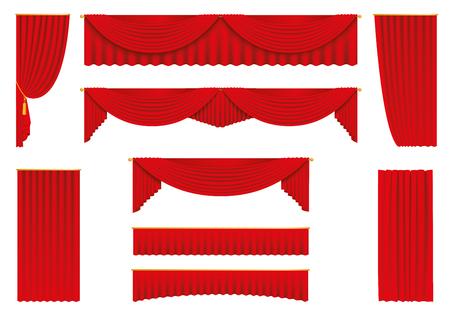 Rode gordijnen, realistische voorraad voorraad vector.