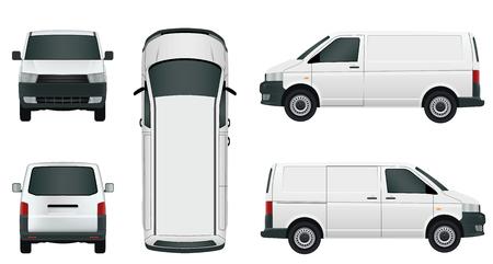 White cargo minivan on a white background - Stock Vector. Vektorové ilustrace