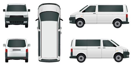White passenger minivan on a white background - stock vector. Illustration