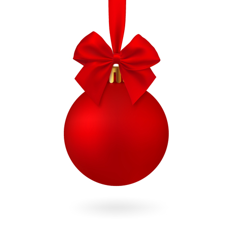 Realistic Red Christmas ball with ribbon and bow, isolated vector Illustration