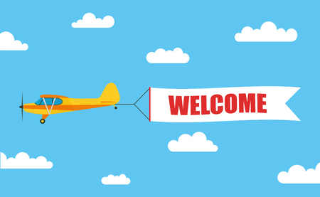 Flying advertising banner, pulled out by light aircraft with the inscription WELCOME - stock vector.