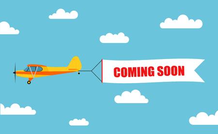 """Banner pubblicitario volante, tirato fuori da un aereo leggero con la scritta """"PRESTO DISPONIBILE"""" - stock vettoriale."""
