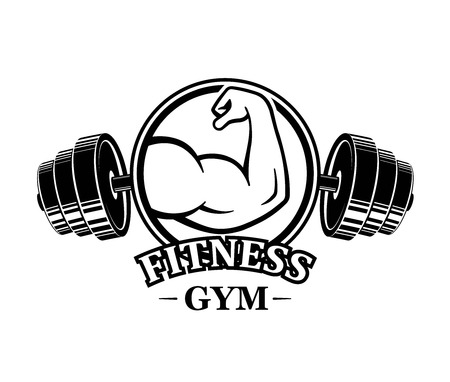 Fitness emblems, muscle armss, power icon. Designed elements - stock vector