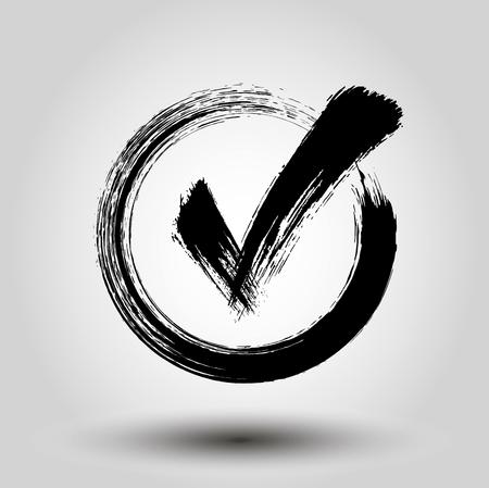 Grunge check mark - stock vector.