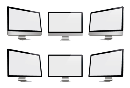 Computer display, monitor, realistic set, 3D, isolated - stock vector.