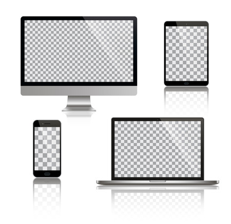 Realistic set of monitor, laptop, tablet, smartphone - Stock Vector illustration 向量圖像