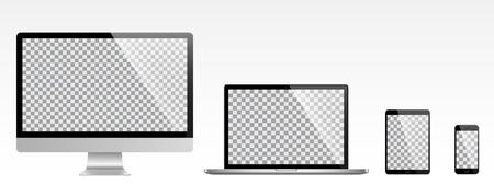 Realistic set of monitor, laptop, tablet, smartphone - Stock Vector illustration Illustration