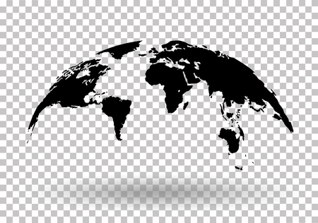 Black World Map Globe Isolated on background - stock vector.