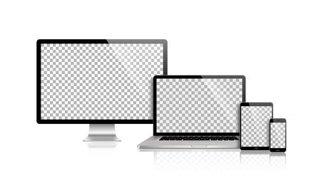 Realistic set of monitor, laptop, tablet, smartphone - Stock Vector illustration 向量圖像