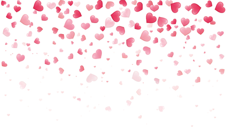 Confetti hearts for Valentine petals falling on white background. Dackground with different colored hearts - stock vector.