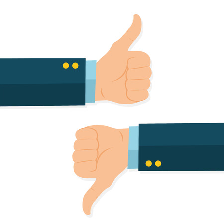 Thumb icon up and down. - stock vector.
