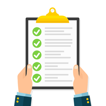 Businessman hands holding clipboard checklist in a flat stock vector.