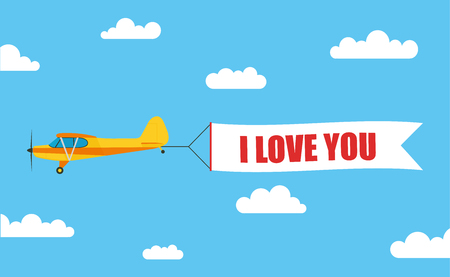 Flying advertising banner, pulled out by light aircraft with the inscription I LOVE YOU - stock vector. Illustration