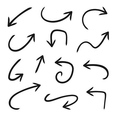 Hand drawn vector arrows set - stock vector.