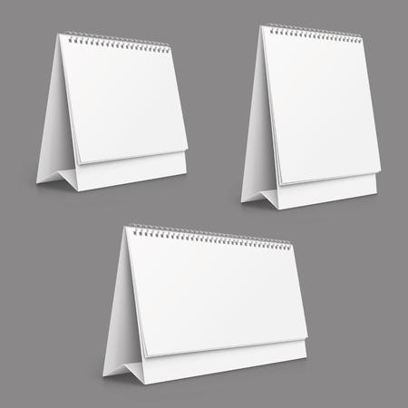 Vertical and horizontal set realistic paper calendar blank - stock vector.
