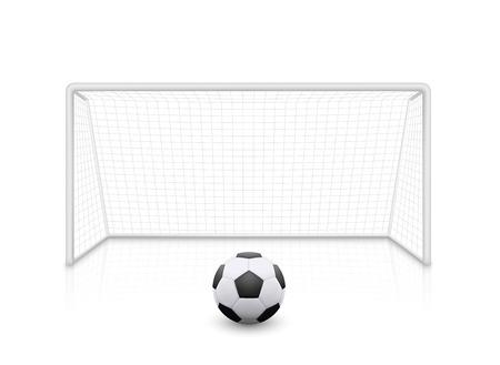 Vector realistic football soccer goal with grid. Football goal and soccer ball with shadow - stock vector.