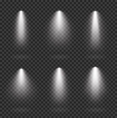 Scene realistic illumination collection, transparent effects. Bright lighting with spotlights - stock vector. Çizim