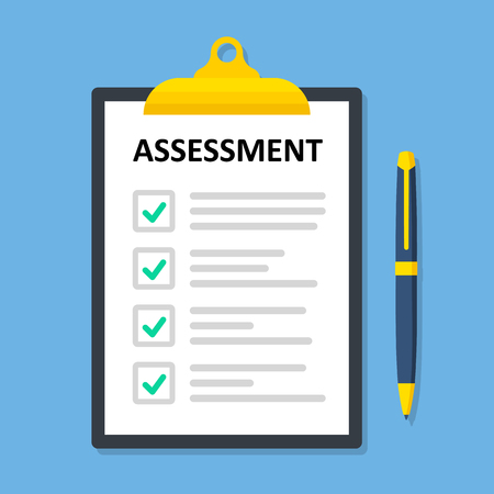 Clipboard checklist with assessment. Paperwork, sheets in folder flat design - stock vector. Ilustração