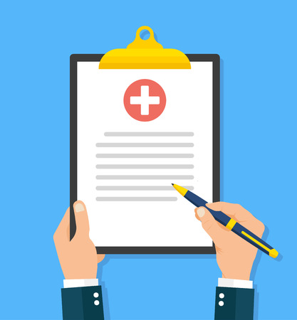 Man hands holding medical clipboard icon. Flat style - stock vector.
