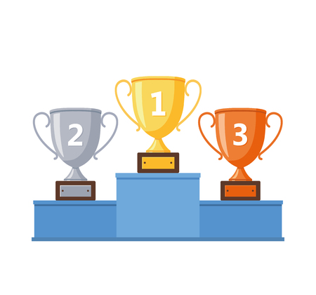 Winners podium with gold, silver and bronze cups - stock vector. Çizim