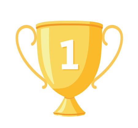 Golden winner cup. Trophy cup. Award symbol. - stock vector.