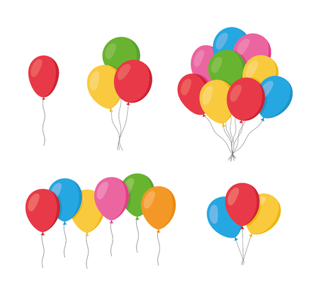 Balloons in cartoon flat style isolated set on white background. Bunch of balloons - stock vector.