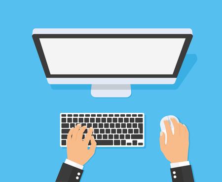 Mains, saisie de texte sur le clavier de l'ordinateur - stock vector.