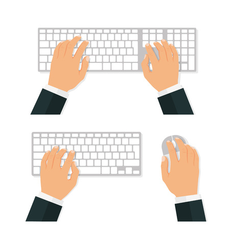 Keyboard and mouse. Hands of user. View from above - stock vector. Çizim