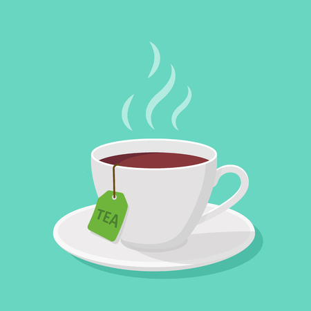Mug With tea and steam in a flat style - vector clipart. Çizim