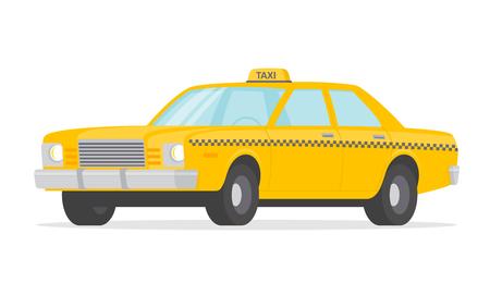 Yellow taxi car - stock vector. Çizim