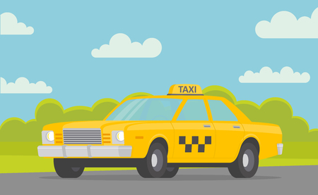 Yellow taxi car on the road. Taxi service. - stock vector. Çizim
