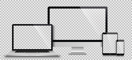 Realistic set of monitor, laptop, tablet, smartphone - Stock Vector illustration Vettoriali