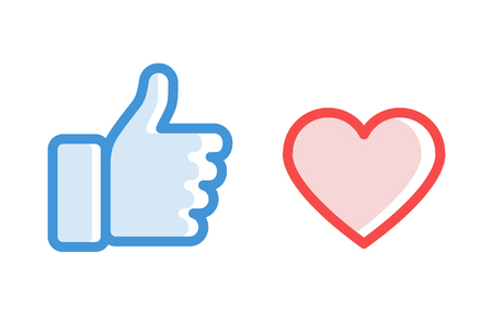 Thumbs up and heart icon. Flat style - stock vector.
