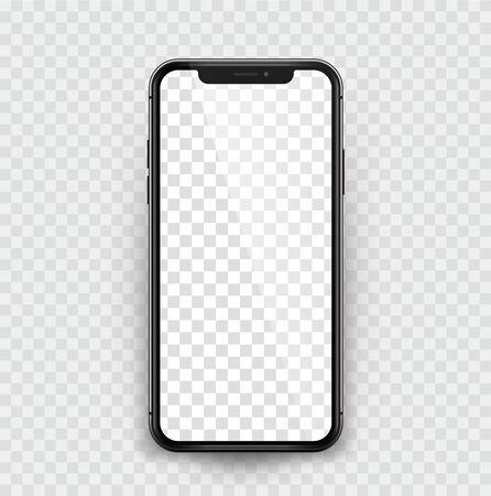 Black realistic smartphone on transparent background - stock vector Çizim