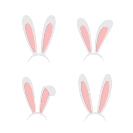 Set easter rabbit, easter bunny ears. Easter masks with rabbit ears isolated on white background - stock vector.