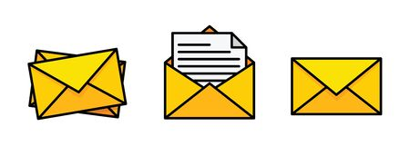 Flat yellow envelope. Mail icon set in flat style - stock vector.