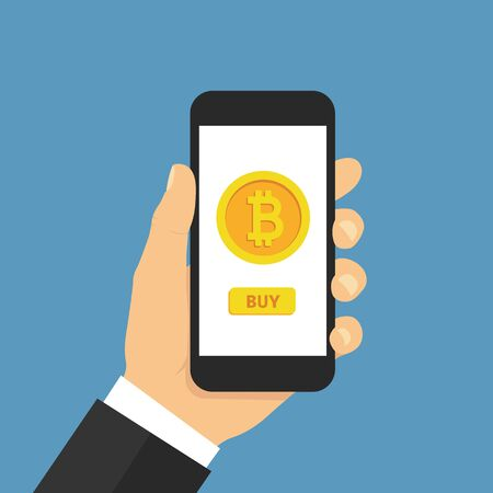 Hand holding smartphone with buy bitcoin. Online crypto payment concept. Flat style - stock vector.