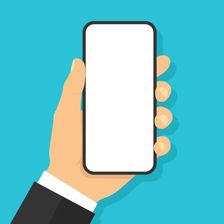 Hand holding smartphone. Flat style - stock vector.