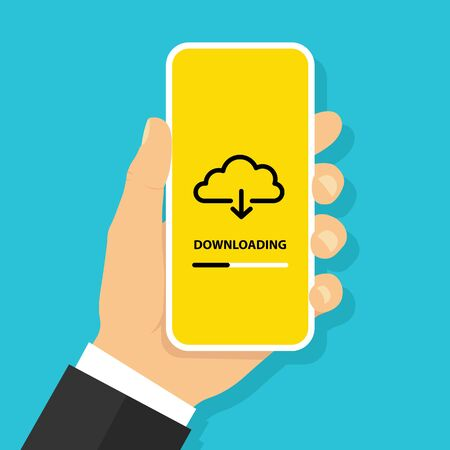 Hand holding smartphone with download file button from cloud on screen. Loading process concept - stock vector.