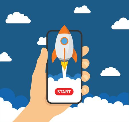 Hand holding smartphon with launch rocket on the screen - stock vector.