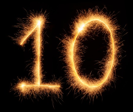 10 number: 10 number drawn with bengali sparkles isolated on black background Stock Photo