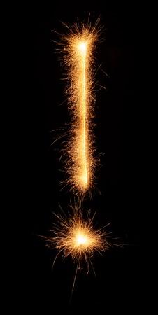 bengali: ! symbol drawn with bengali sparkles isolated on black background